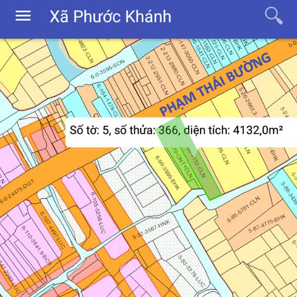 Bán đất xã Phước Khánh Nhơn Trạch Đồng Nai mặt tiền Phạm Thái Bường 5/366-1